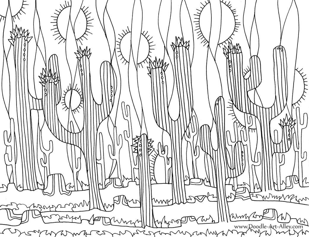 nature coloring pages doodle art alley