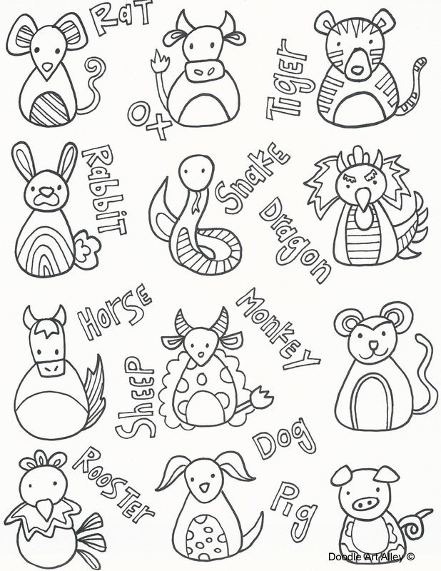Chinese New Year Coloring Pages Doodle Art Alley