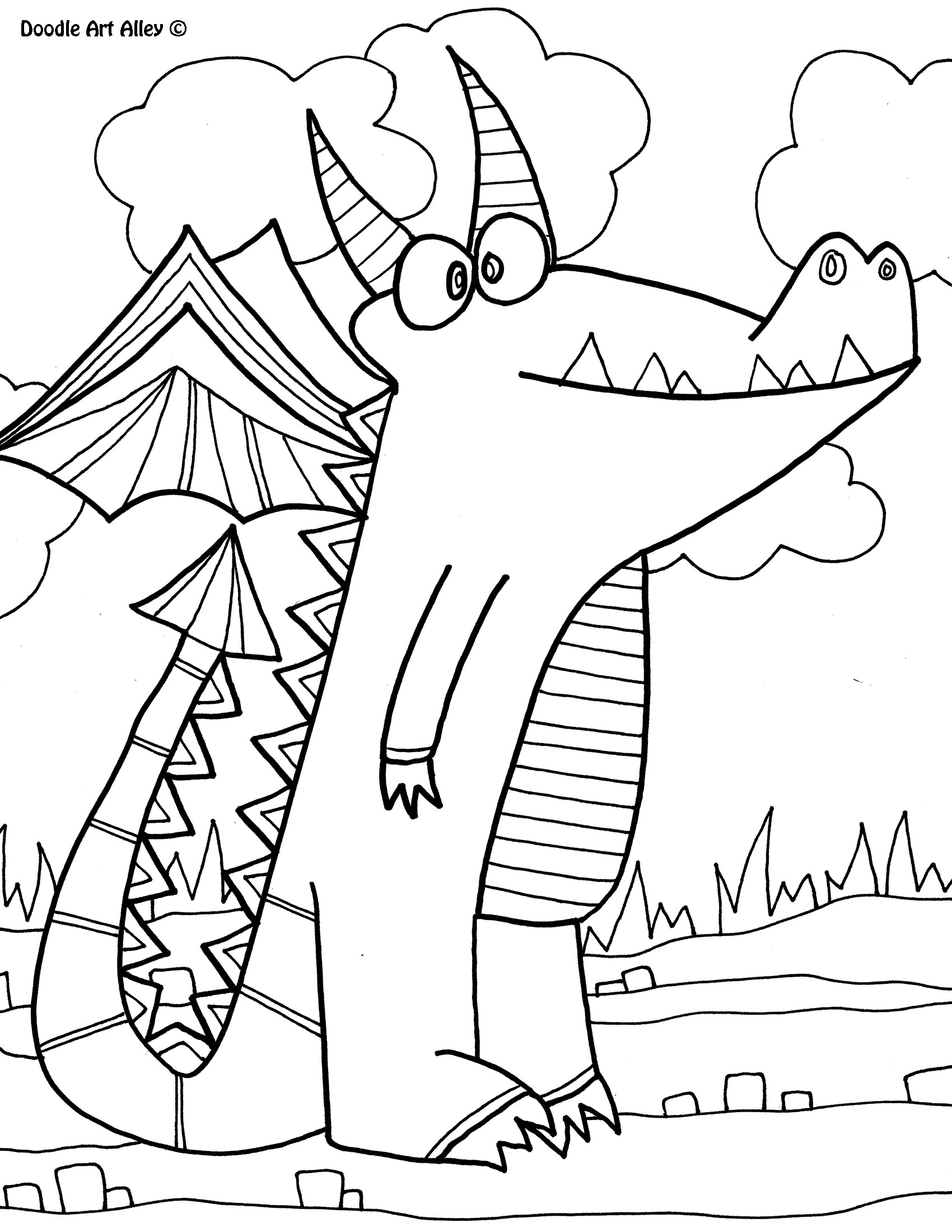 dragon coloring pages doodle art alley