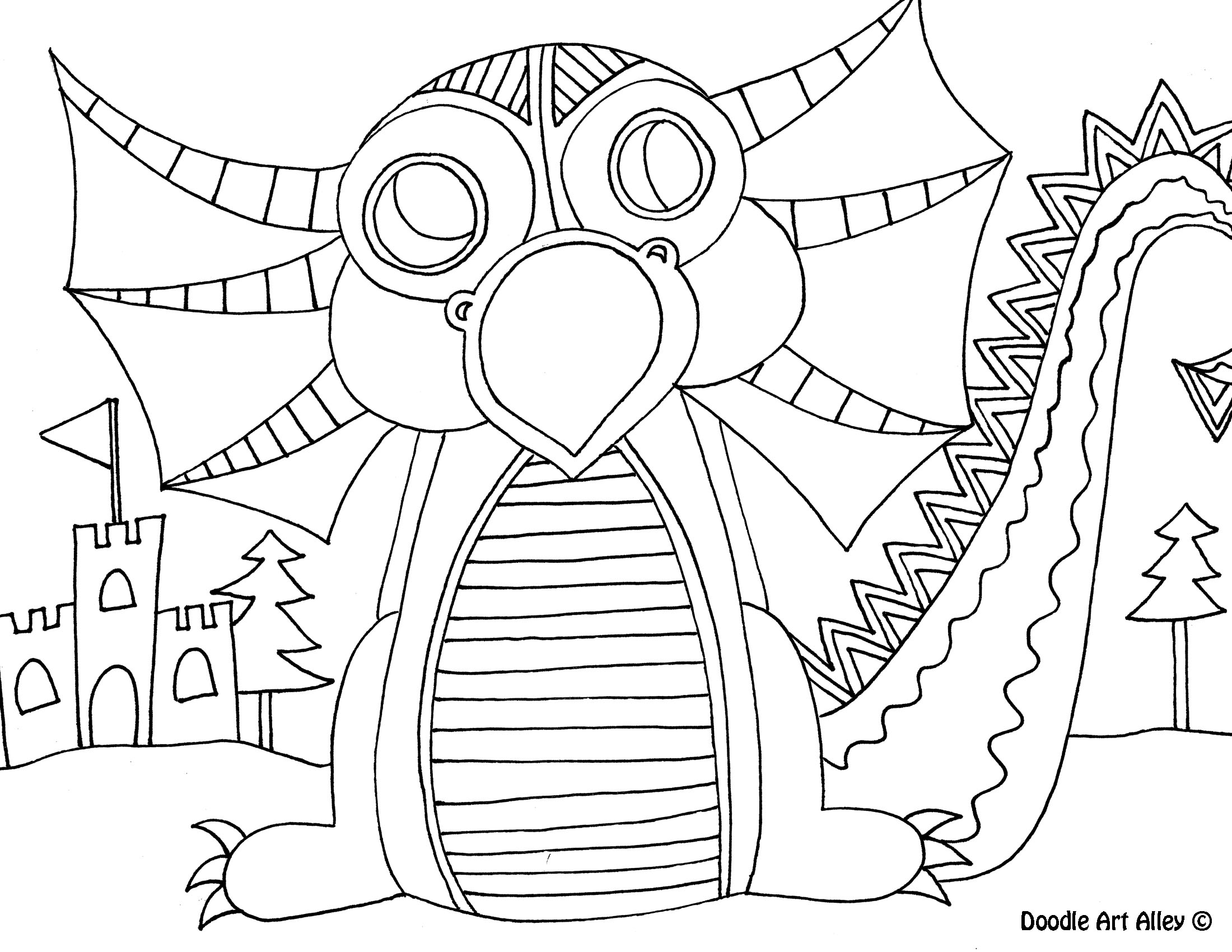 mythical creatures coloring pages - doodle art alley - Mythical Creatures Coloring Pages