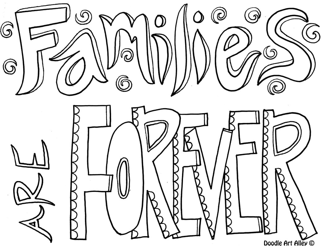 family quote coloring pages doodle art alley