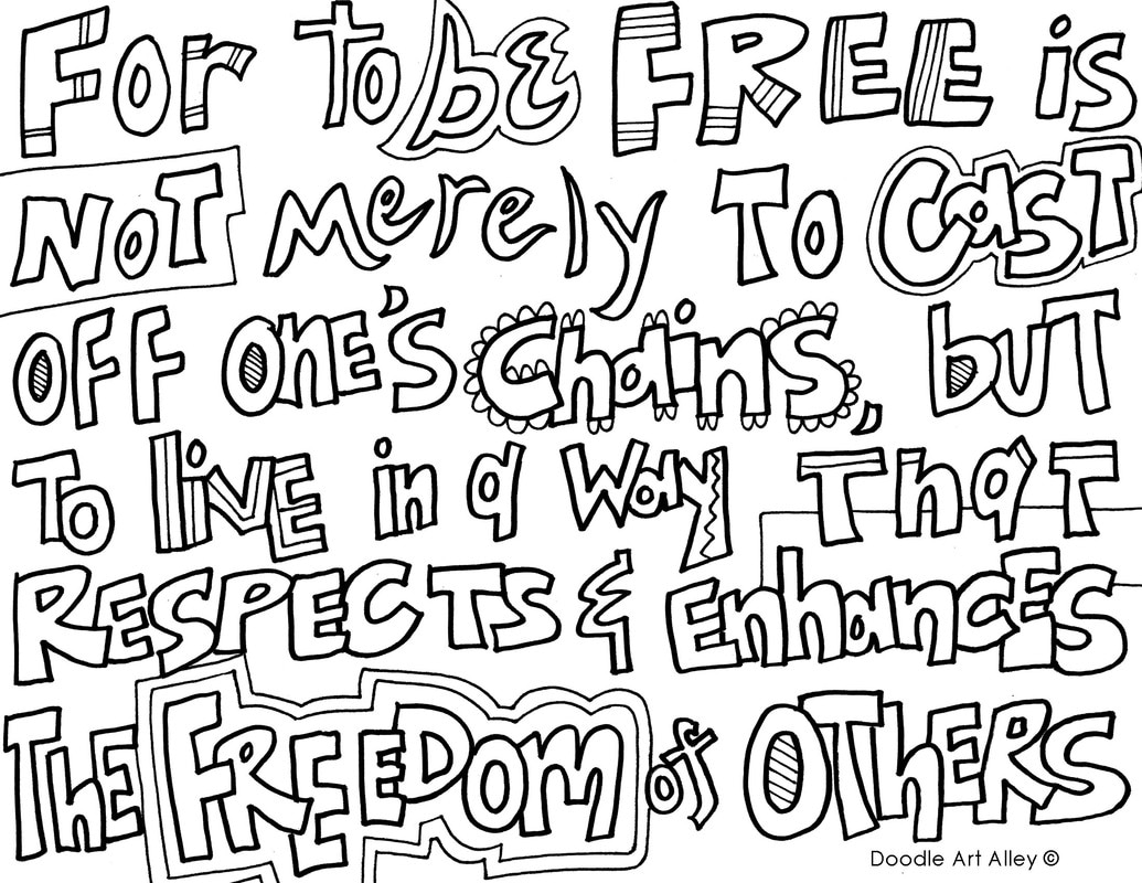 Freedom Quote Coloring Pages - Doodle Art Alley