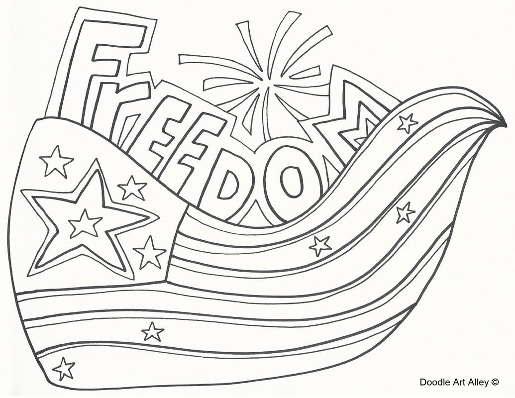 independence day coloring pages doodle art alley
