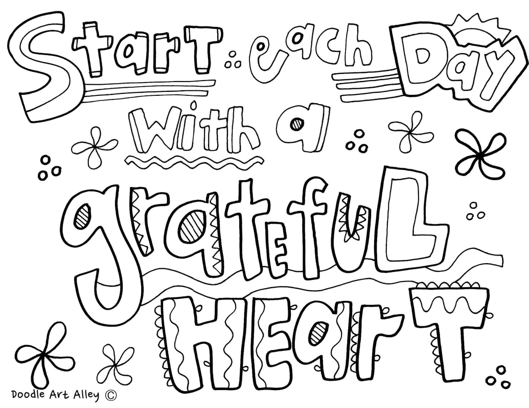 Coloring Thankful Quotes - Doodle Art Alley