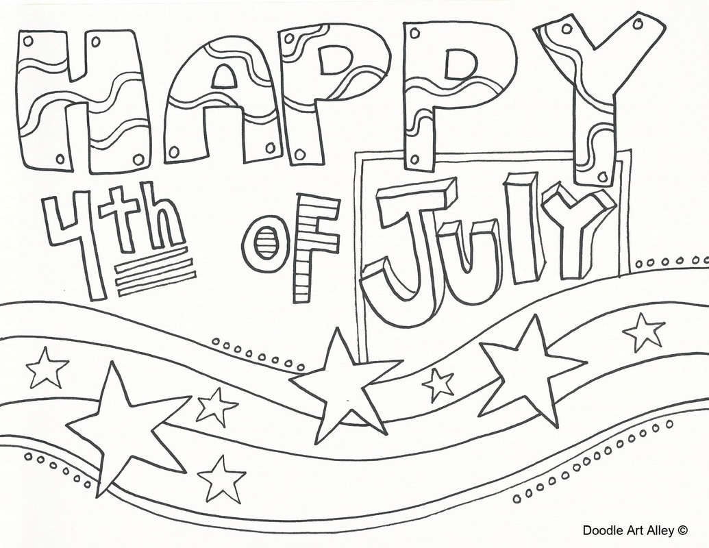 Free coloring pages fourth of july - Happy 4th Of July