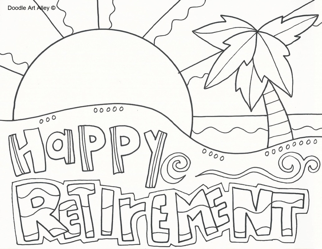 retirement coloring pages doodle art alley