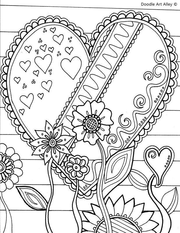 Valentines Day Coloring Pages - Doodle Art Alley