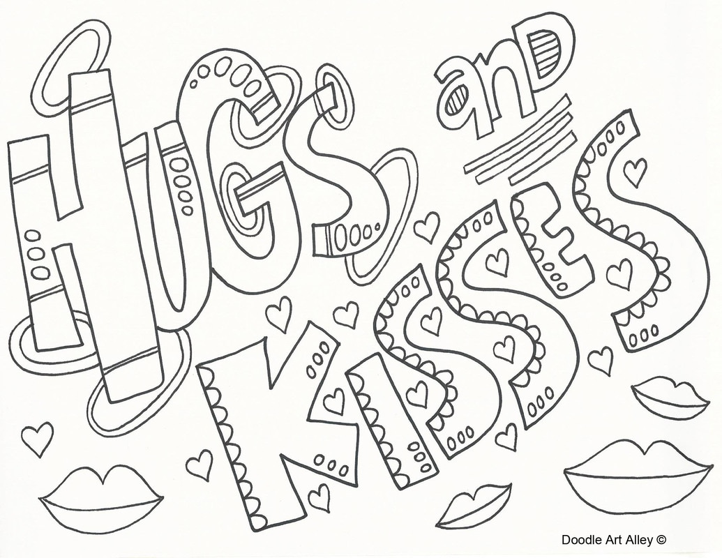 hearts and kisses coloring pages - photo#3