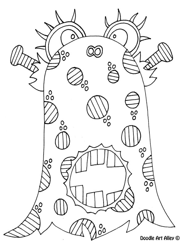 Monster coloring pages doodle art alley for Doodle art alley coloring pages