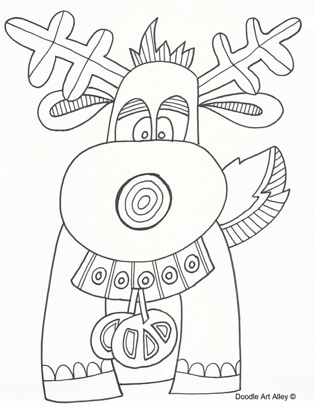 Christmas coloring pages doodle art alley for Doodle art alley coloring pages