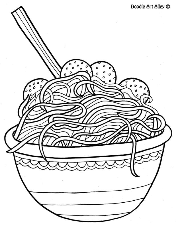 fast food coloring pages twisty noodle