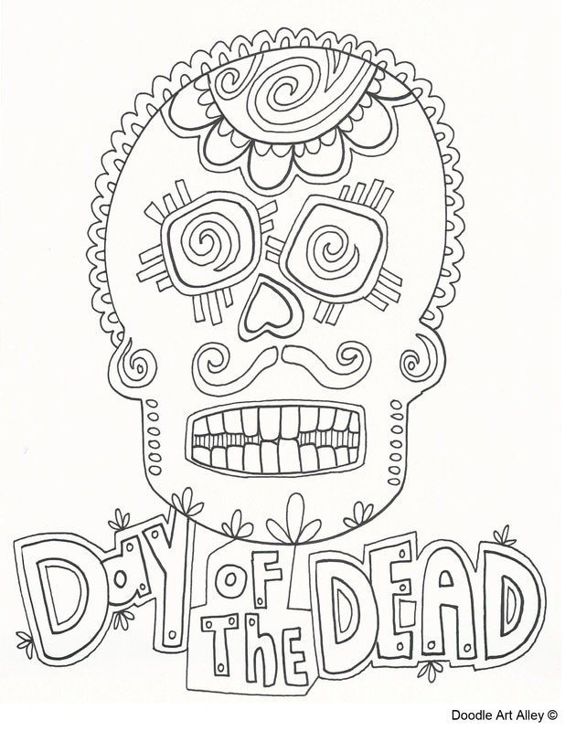 Day Of The Dead Coloring Pages - DOODLE ART ALLEY