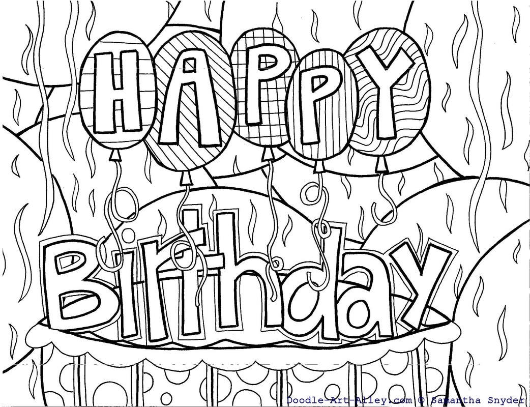 - Birthday Coloring Pages - Doodle Art Alley