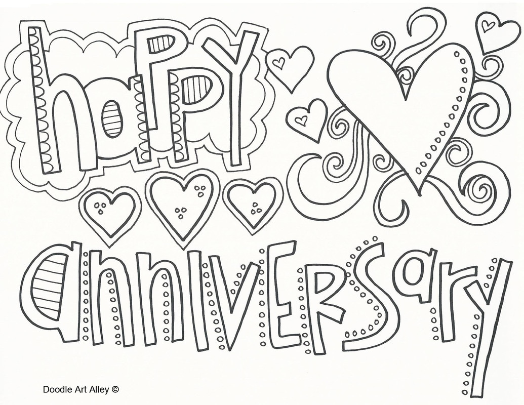 Anniversary Coloring Pages - Doodle Art Alley