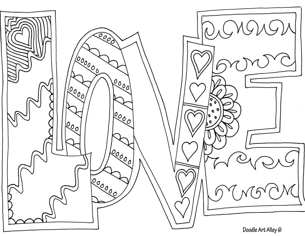 Word Coloring pages - DOODLE ART ALLEY
