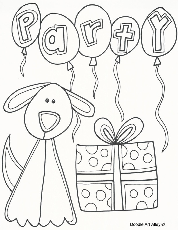 Coloring Pages Online: Puppy gift birthday coloring pages | 800x618